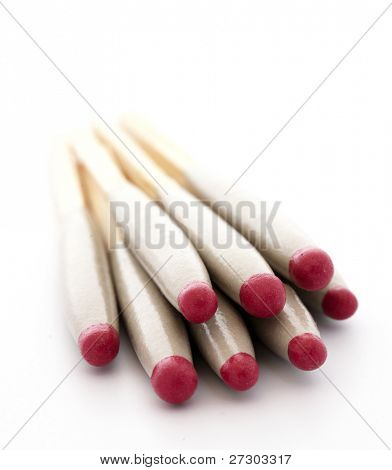 wooden matches isolated on white background