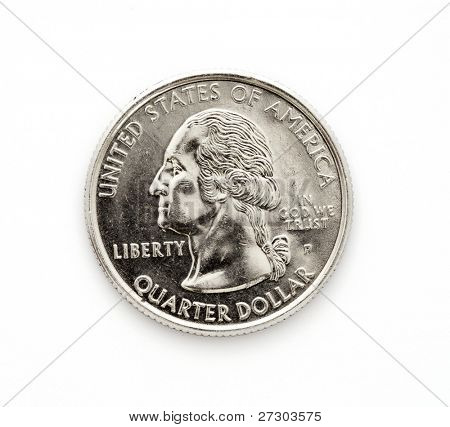 Close-up of an us quarter dollar coin isolated over white