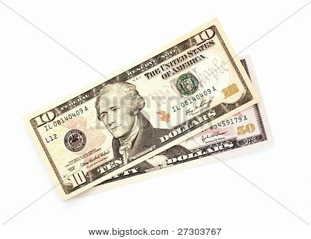 Dollar banknotes isolated on a white background