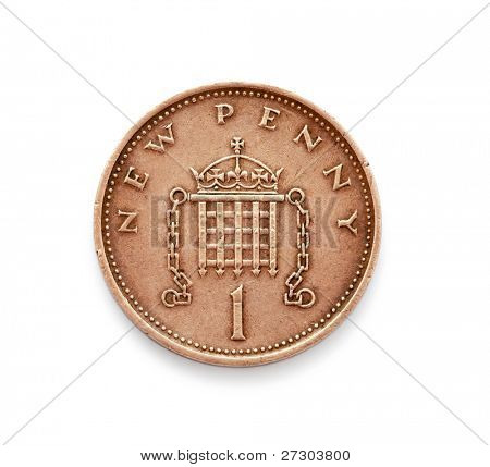 new one penny coins,isolated on white