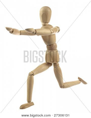 Wooden artist dummy model against a white background. A wooden mannequin work out