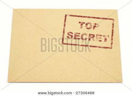 """Mail envelope with a stamp"""" top secret"""""""
