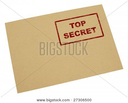 """Mail envelope with a stamp"""" top secret"""",Isolated on white with clipping paths."""