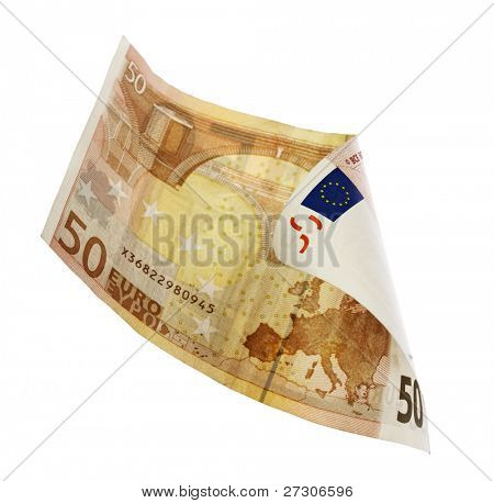 fifty euro banknote,isolated on white with clipping path.