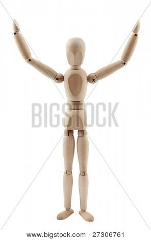 Wooden figure victory,isolated on white with clipping path.