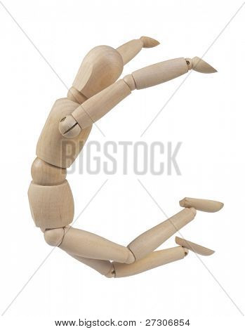 Wooden figure,isolated on white with clipping path.