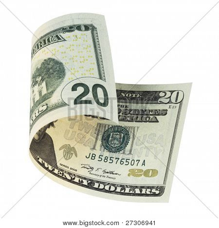 twenty dollar banknote,isolated on white with clipping path.