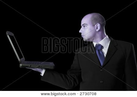A Businessman With Laptop Computer