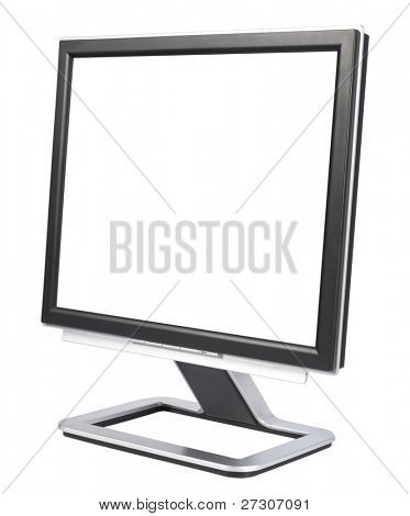 Computer Monitor with blank white screen,isolated on white with clipping path.