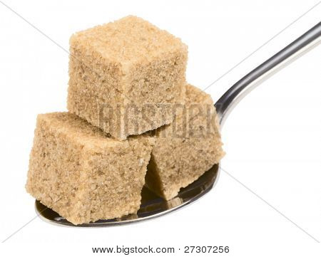 cubeÃ??Ã?? of brown sugar on spoon, isolated on white with clipping path