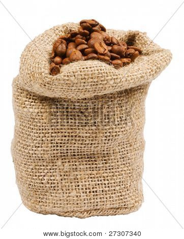 Coffee beans in canvas sack,isolated on white with clipping path.