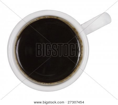 Top view of a cup of coffee, isolated on white