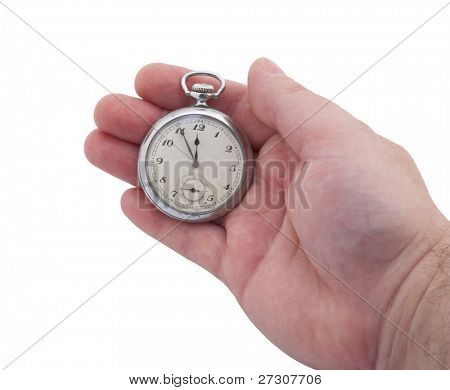 pocket watch in hand isolated on white background