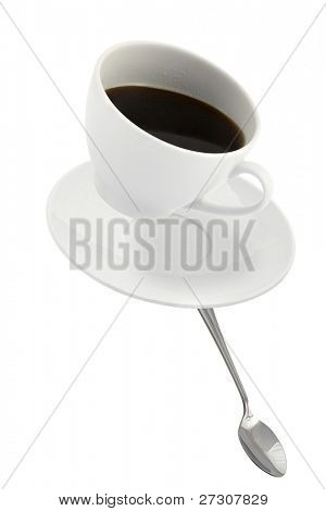 falling coffee cup with spoon and saucer,  isolated on white background
