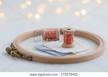 Trendy Coral Colored Threads Wooden