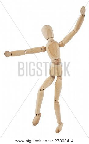 Wooden figure,isolated on white,dance
