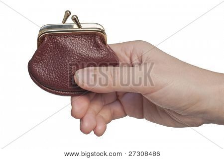 Hand holding  wallet, isolated on white