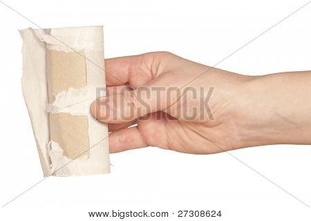 Toilet paper rolls in hand,Isolated on white background