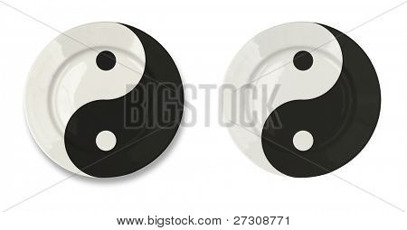 Round yin yan plate isolated on white with clipping path included