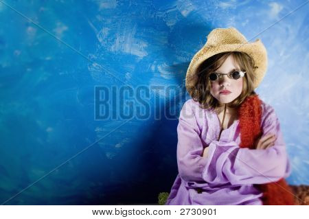 Mad Girl In A Hat And Glasses