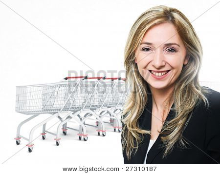 smiling woman and 3d shopping trolley background