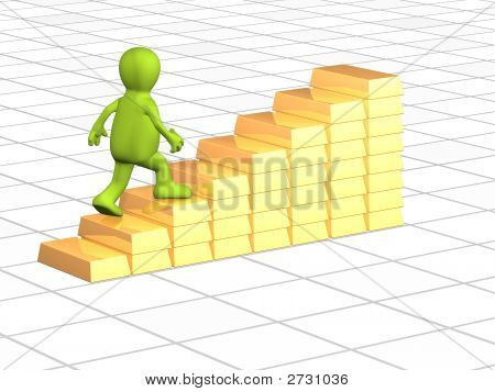 3D Person, Going On A Ladder From Gold Ingots