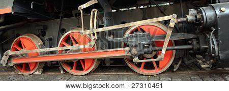 Cerca de la locomotora en un ferrocarril a vapor.