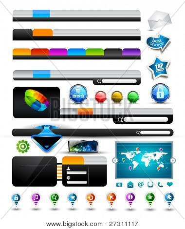 Premium Collection of modern style web headers, forms, icons, world map, glossy design elements and buttons