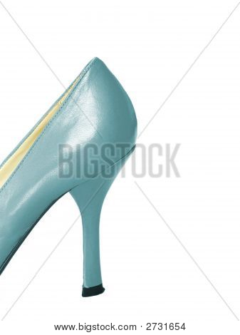 Baby Blue Leather High Heel Shoe