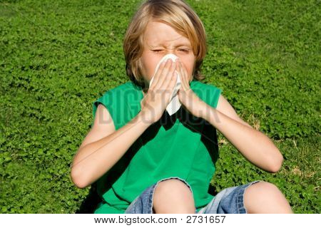Child With Allergy Or Cold Blowing Nose