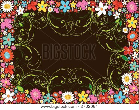 Spring Flower Frame And Swirls