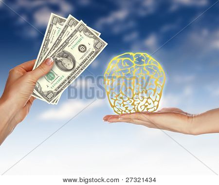Collage with human hands holding money against blue sky