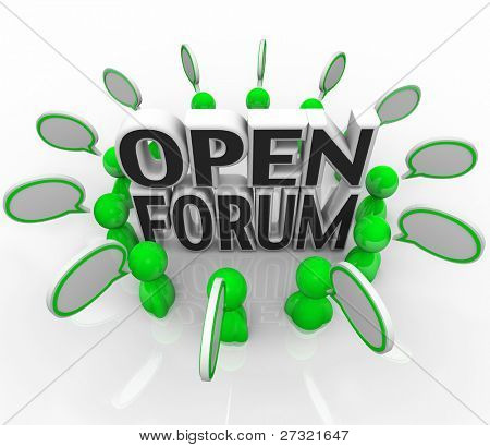 A group of illustrated 3d people are arranged in a circle around the words Open Forum representing sharing and communication of questions and ideas