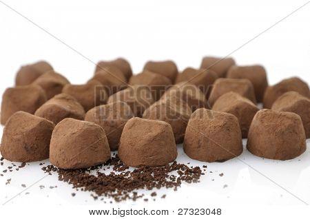 Chocolate Truffles On White Background , Close Up