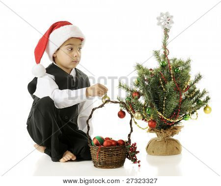 A barefoot but dressed up kindergarten boy in a Santa hat contemplating where to place the next bulb on his tiny Christmas tree.  On a white background.