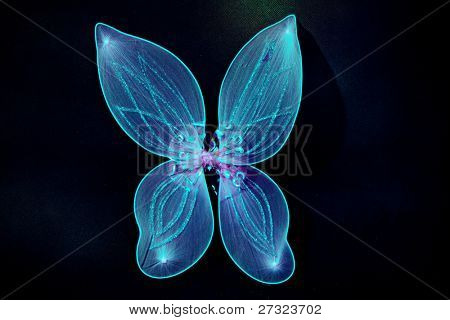 pair of fairy wings in blue color on dark background