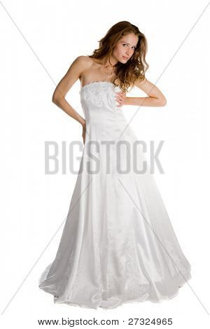 beauty bride in white dress over white