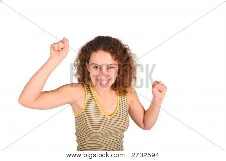 Angry Young Woman Gestures By The Hands