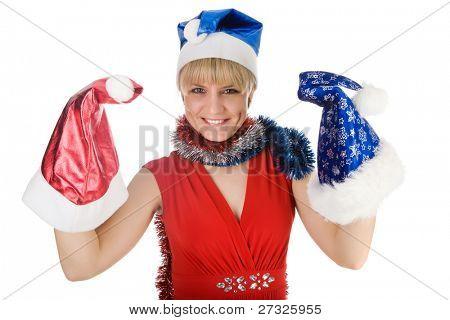 girl in santa cloth over white