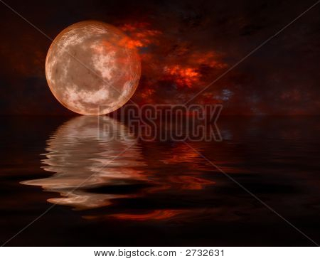 Full  Moon Rising From Water