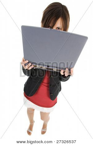 Modern businesswoman holding laptop isolated over white