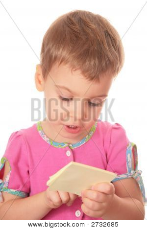 Child With Stikers Paper