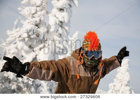 portrait of a young man on winter background