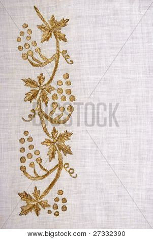 Real gold flowers on hand woven linen from Ottoman Empire