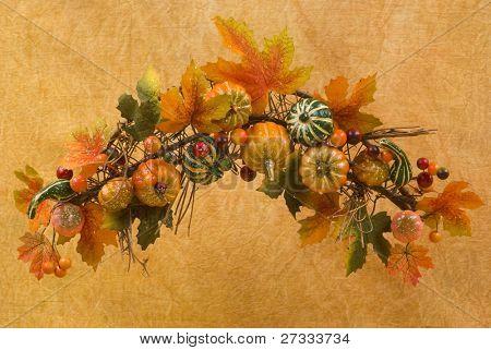 Fall themed maple, pumpkin wreath