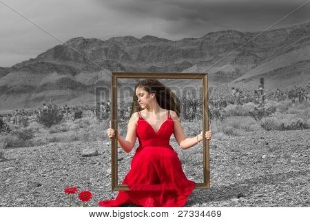 Live painting (girl wearing a designer dress in the Nevada desert on a gloomy winter day)