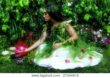 Enchanted garden and the fairy (night time scene with misty feeling, indoor shoot)