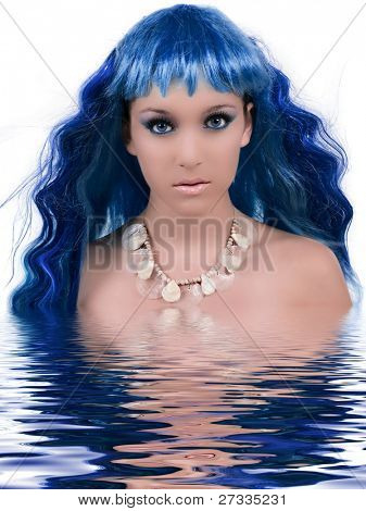 Beautiful mermaid with water reflection