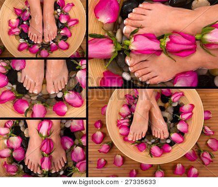 Ser mimado en un spa con rosas aromáticas y hierbas pediluvio