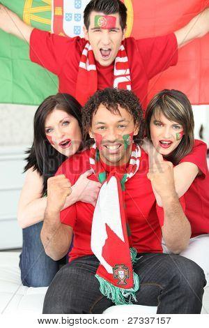 Portuguese football fans celebrating
